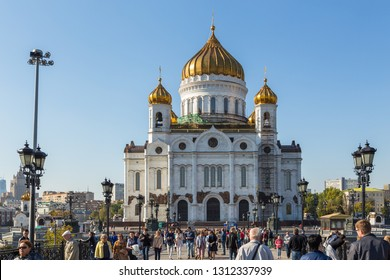 Moscow, Russia- 21 September 2014: The Cathedral of Christ the Savior, Russian Orthodox cathedral in Moscow. White building with gold domes, the tallest Orthodox Christian church in the world.