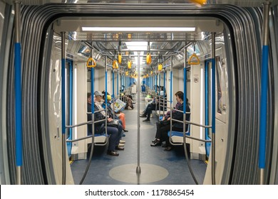 "MOSCOW, RUSSIA - 22 august 2018: Passengers traveling in cars with a new design of the modern train of the Moscow metro ""Moscow"" (model 81-765.2)."