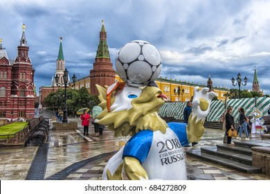 MOSCOW, RUSSIA - 22.06.2017   The official mascot of the 2018 FIFA World Cup and the FIFA Confederations Cup 2017 wolf Zabivaka at the Manege Square in Moscow.