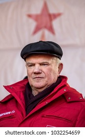 Moscow, Russia. 23 Feb, 2018:  Gennady Zyuganov, the leader of the Communist Party of the Russian Federation (CPRF), at a rally organised by the CPRF in central Moscow, Russia