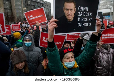 Moscow, Russia. 23rd of January, 2021 People take part in an unauthorized rally in support of Russian opposition leader Alexei Navalny in Tverskaya Street in the central Moscow, Russia