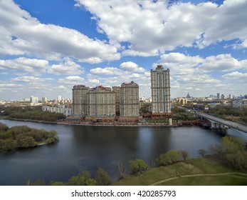 "Moscow, Russia - 24 April, 2016: residential complex ""Scarlet Sails"" on the river bank in Moscow"