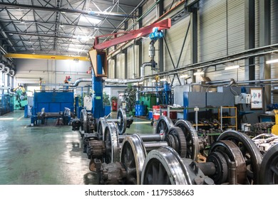 MOSCOW, RUSSIA - 24 august 2018: Production of current repair and turning of wheel pairs of the suburban electric train in Kryukovo depot