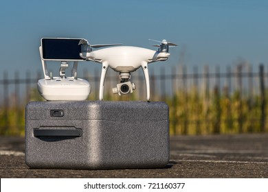MOSCOW, RUSSIA - 24 September, 2017: a Phantom 4 Pro drone in flight, selective focus on the drone. Phantom 4 Pro is a drone manufactured by the DJI company.