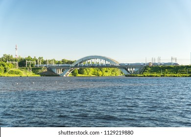 MOSCOW, RUSSIA - 25 may 2018: The train Sapsan (Siemens Valaro RUS) travels across the bridge through the Moscow Canal