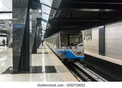 """MOSCOW, RUSSIA - 26 february 2018: Architectural design of metro station """"Petrovsky Park"""" Solntsevskaya line and the Big circle line of the Moscow metro"""