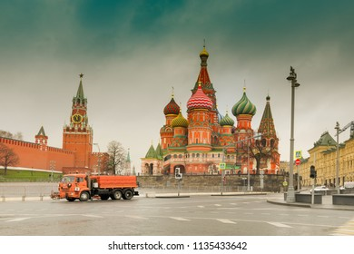 MOSCOW, RUSSIA - 26TH APRIL 2018 : View of Moscow Red Square Kremlin towers. Moscow architecture, Russia. It is world famous tourist spot - Saint Basil's cathedral in background.