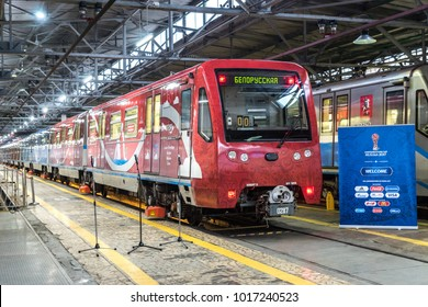 MOSCOW, RUSSIA - 27 december 2017: The train of the Moscow metro Rusich standing in depot of Krasnaya Presnya (model 81-740/81-741)