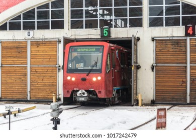 MOSCOW, RUSSIA - 27 december 2017: The train of the Moscow metro Rusich leaves the depot of Krasnaya Presnya on the Ring metro line
