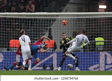 MOSCOW, RUSSIA - 27 NOVEMBER, 2018. Luzhniki Stadium. Igor Akinfeev and Lukas Hejda (ltr) during the match of UEFA Champions League between CSKA (Moscow) and Viktoria (Plzen).