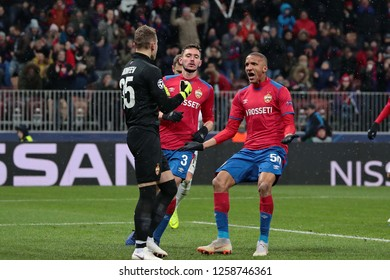 MOSCOW, RUSSIA - 27 NOVEMBER, 2018. Luzhniki Stadium. I.Akinfeev, N.Chernov and R.Becao (ltr) during the match of UEFA Champions League between CSKA (Moscow) and Viktoria (Plzen).