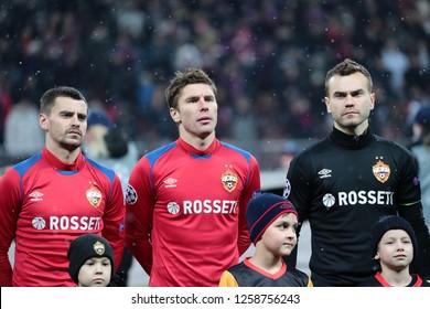 MOSCOW, RUSSIA - 27 NOVEMBER, 2018. Luzhniki Stadium. G. Shchennikov, K. Nababkin and I. Akinfeev (ltr) before the match of UEFA Champions League between CSKA (Moscow) and Viktoria (Plzen).