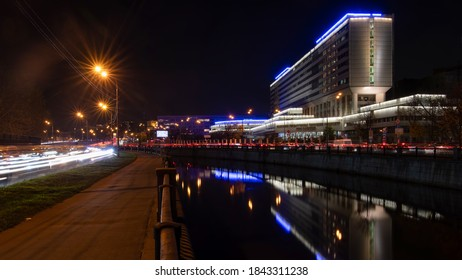 Moscow, Russia - 27th October, 2020: Education in the city. Night view of Bauman Moscow State Technical University (Educational and Laboratory Building).