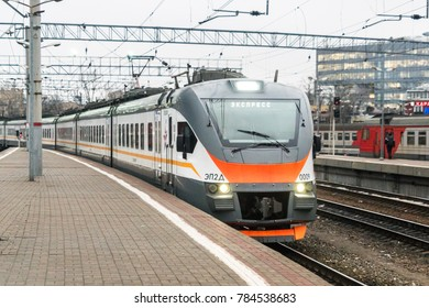 MOSCOW, RUSSIA - 28 december 2017: Suburban express train arrives at Kursky railway station in Moscow
