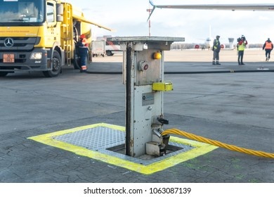 MOSCOW, RUSSIA - 28 march 2018: System for aircraft maintenance in the territory of Vnukovo international airport