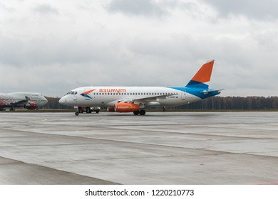 MOSCOW, RUSSIA - 28 october 2018: Sukhoi Superjet 100 Azimut airline arrived at Vnukovo international airport