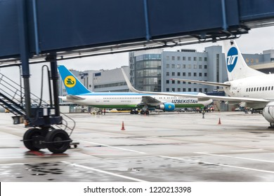 MOSCOW, RUSSIA - 28 october 2018: Solemn meeting of the first flight of Uzbekistan airways at the international airport Vnukovo water arch