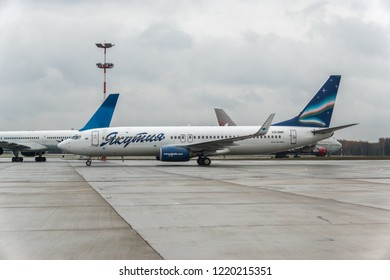 MOSCOW, RUSSIA - 28 october 2018: The plane of the airline Yakutia arrived at the international airport Vnukovo