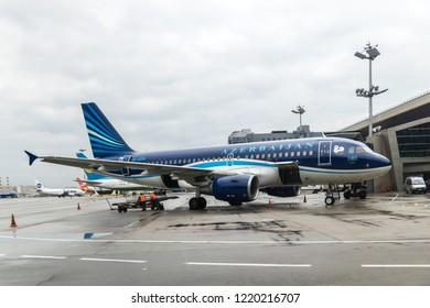 MOSCOW, RUSSIA - 28 october 2018: Azerbaijan airlines (AZAL) plane arrives at Vnukovo international airport
