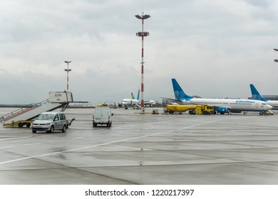 MOSCOW, RUSSIA - 28 october 2018: Planes of different airlines are at Vnukovo international airport