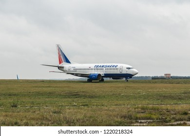 MOSCOW, RUSSIA - 28 october 2018: The old plane of Transaero airlines is in the far Parking lot of Vnukovo international airport