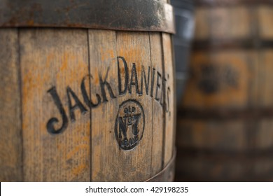 MOSCOW, RUSSIA 29 MAY 2015: Burned logo of the famous Jack Daniel's whiskey at the old wooden barrel.