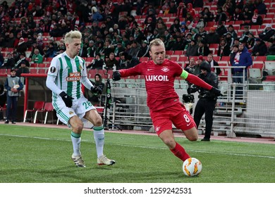 MOSCOW, RUSSIA - 29 NOVEMBER, 2018. Spartak Stadium. Christoph Knasmullner and Denis Glushakov (ltr) during the UEFA Europa League match between Spartak (Moscow) and Rapid (Wien).