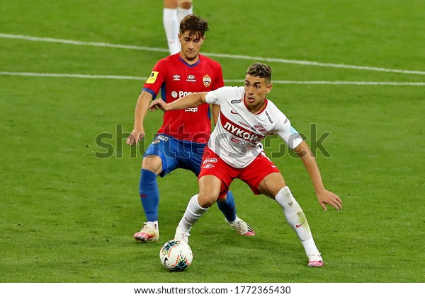 Moscow, Russia, 30 june 2020. VEB Arena. Konstantin Maradishvili & Ezequiel Ponce in the football match of Russian Premier League 2019/2020 between CSKA (Moscow) - Spartak (Moscow)