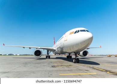 MOSCOW, RUSSIA - 31 july 2018: The Airbus A330 aircraft of Beijing Capital airlines has landed at Sheremetyevo international airport in Moscow