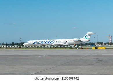 MOSCOW, RUSSIA - 31 july 2018: The Bombardier CRJ900 aircraft of Adria has landed at Sheremetyevo international airport in Moscow