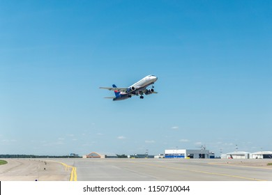 MOSCOW, RUSSIA - 31 july 2018: The  plane of Aeroflt Russian airlines takes off from Sheremetyevo international airport in Moscow