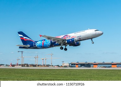 MOSCOW, RUSSIA - 31 july 2018: The  plane of Aeroflt Russian airlines with PFC CSKA Moscow football livery takes off from Sheremetyevo international airport in Moscow