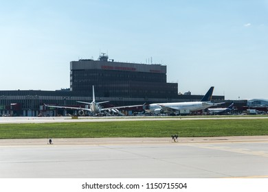 MOSCOW, RUSSIA - 31 july 2018: Navigation signs on the taxiways of Sheremetyevo airport
