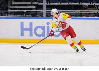 Moscow, Russia. 3rd February, 2021. KHL Regular Season ice hockey match: Dinamo Moscow Vs Jokerit Helsinki 5:1 - Moscow VTB Arena. #51 Alex Grant