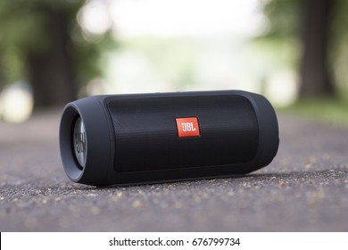 Moscow, Russia - 4 Jul, 2016: JBL Charge 2 Plus Black bluetooth speaker.