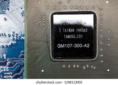 Moscow russia 4 november 2018. Nvidia geforce graphic chip close up