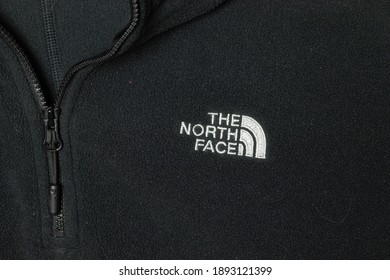 Moscow, Russia - 5 December 2020: The North Face TNF logo close-up, Illustrative Editorial.
