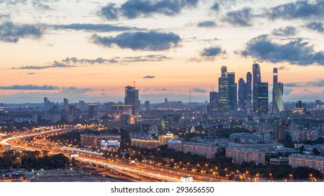 Moscow, Russia - 5 July 2015. You can see sunset over Moscow city with modern skyscrapters.