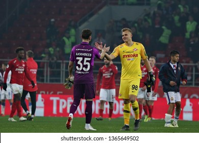 Moscow, Russia, 6 april 2019. Otkrytie Arena. Igor Akinfeev & Aleksandr Maksimenko in the football match of Russian Premier League 2018/2019 between Spartak (Moscow.Russia) & CSKA (Moscow.Russia)