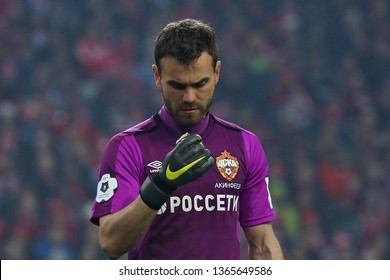 Moscow, Russia, 6 april 2019. Otkrytie Arena. Igor Akinfeev in the football match of Russian Premier League 2018/2019 between Spartak (Moscow.Russia) & CSKA (Moscow.Russia)
