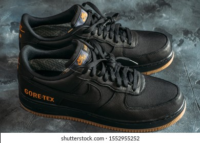 Moscow, Russia - 7 November 2019 : Nike Air Force 1 GORE-TEX - sport shoes or sneakers for urban lifestyle with GORE-TEX waterproof technology.