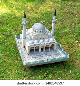 Moscow, Russia - 8 August, 2019: model of the Juma-Jami mosque (an object of cultural heritage of federal significance) in the city of Yevpatoriya in a public of Moscow