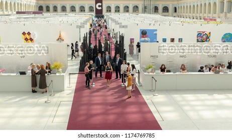 """MOSCOW, RUSSIA - 8 SEPTEMBER 2018: International Contemporary Art Fair """"Cosmoscow"""" was held in Moscow on 7-9 September 2018."""