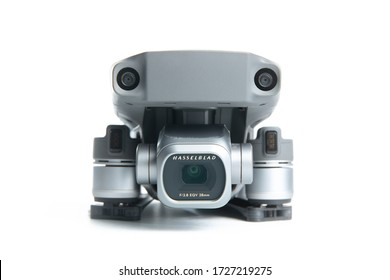 Moscow / Russia - 9 May 2020: DJI Mavic 2 Pro drone with Hasselblad camera isolated on white background