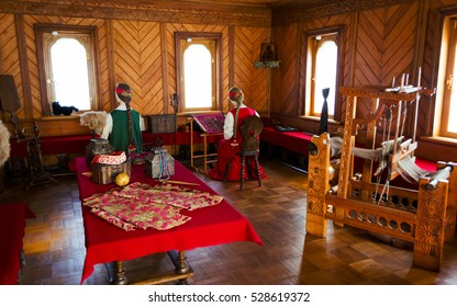 MOSCOW, RUSSIA - APR 09, 2014: House of the Boyars Romanov Museum (part of State Historical Museum). Ancient russian spinners at work in the upper room (permanent exhibition)
