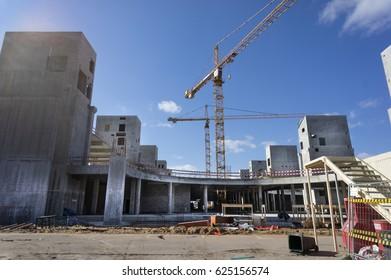 MOSCOW, RUSSIA - Apr 16, 2017: Preparation 2018 FIFA World Cup, reconstruction Luzhniki Stadium and area around