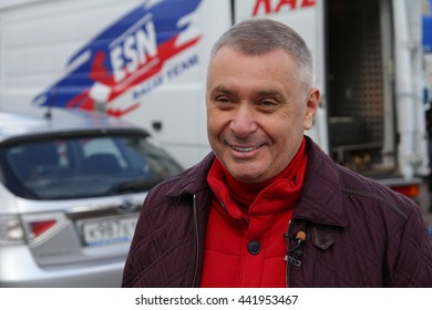 Moscow, Russia - Apr 18, 2015: Head of Department of Physical Fitness and Sports (Moscomsport) Alexey Vorobyov during Rally Masters Show 2015 at Krylatskoye District.