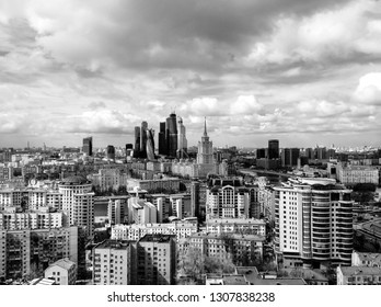 MOSCOW, RUSSIA - APR 20, 2015: New commercial district of Moscow International Business Center (Moscow-City) and old Kutuzovsky prospect with Ukraine hotel on the foreground.