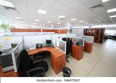 MOSCOW, RUSSIA - APR 25, 2016: Big office with partitions workplaces and plants in Moscow city telephone network