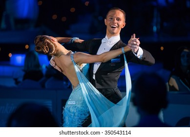 MOSCOW, RUSSIA - APR 26, 2015: Unidentified professional dance couple performs at the ballroom dance event at the 2015 Open European Professional Latin-American Championship in Moscow.